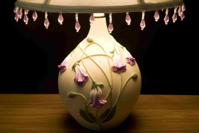 White Purple Elegant Nightstand Table Lamps With Power Switch Lightweight