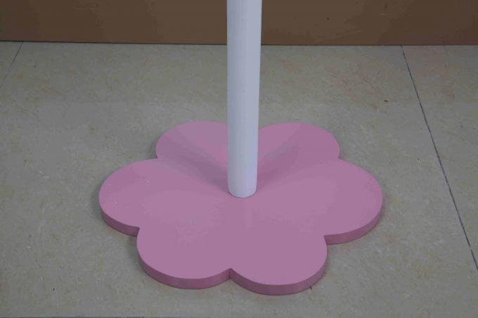 White Flower Shape Kids Playroom Furniture Wooden Coat Rack With Mirror
