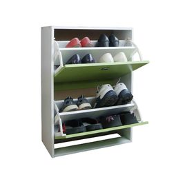 2 Tier Flip Drawers Shoe Organizer Cabinet , Green Shoe Storage Containers