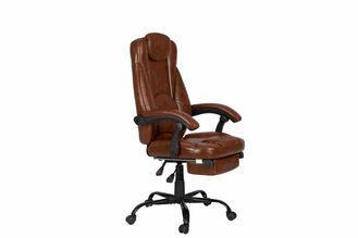 China PU Brown Leather Reclining Office Chair With Footrest Retractable Reducing Tension supplier