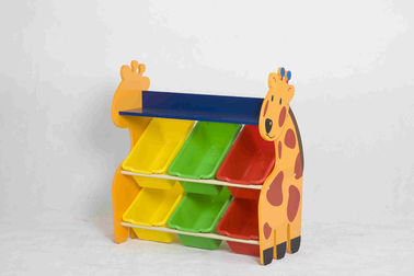 Giraffe Shape Kids Toy Storage Organizer , Plastic Toy Storage Bins Shelf