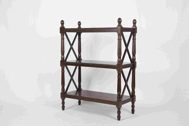 China 3 Tiers Multi Purpose Wooden Book Rack Walnut With X - Pattern Frame 12.4kg supplier