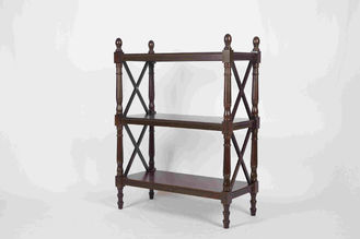 3 Tiers Multi Purpose Wooden Book Rack Walnut With X - Pattern Frame 12.4kg