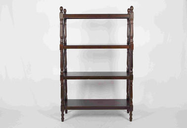 144CM Walnut Soild Wooden Book Rack Four Tiers For Living Room Corner Storage