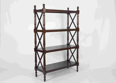 China 144CM Walnut Soild Wooden Book Rack Four Tiers For Bedroom Corner Storage supplier