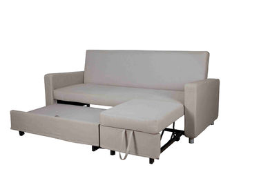 Gray Cotton Home Sofa Bed Convertible Adjustable Footrest With Side Pocket