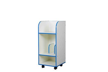 Three Tier Kids Playroom Furniture Storage Cabinet Book Storage With Caster Wheels