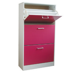 Rose Red Wooden Home Shoe Cabinet 3 Tier Flip Drawers With PVC Handle