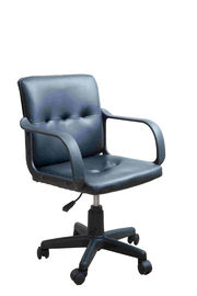 Black Leather Home Office Computer Chair Mid Back With Nylon Armrest 8.6KG