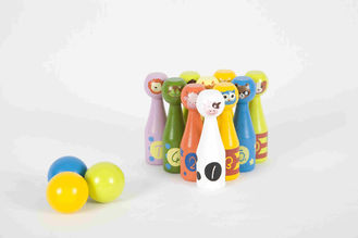 Kids Bowling Set Toddler Wooden Toys With 10 Different Animals Pins And 3 Color Balls