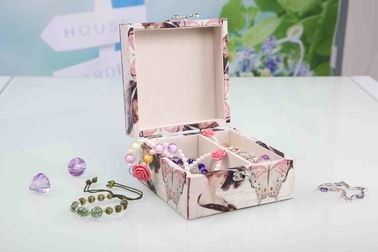 L13*W13*H7CM Modern Wood Furniture Fabric Covered Jewelry Box For Wedding Party