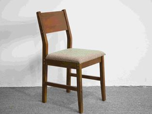 Durable Walnut Color Soild wood Dining Chair With Cushion Sloping Back