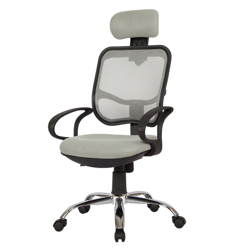 Gray Color Fabric Home Computer Chair With Headrest , Mesh Back For Office