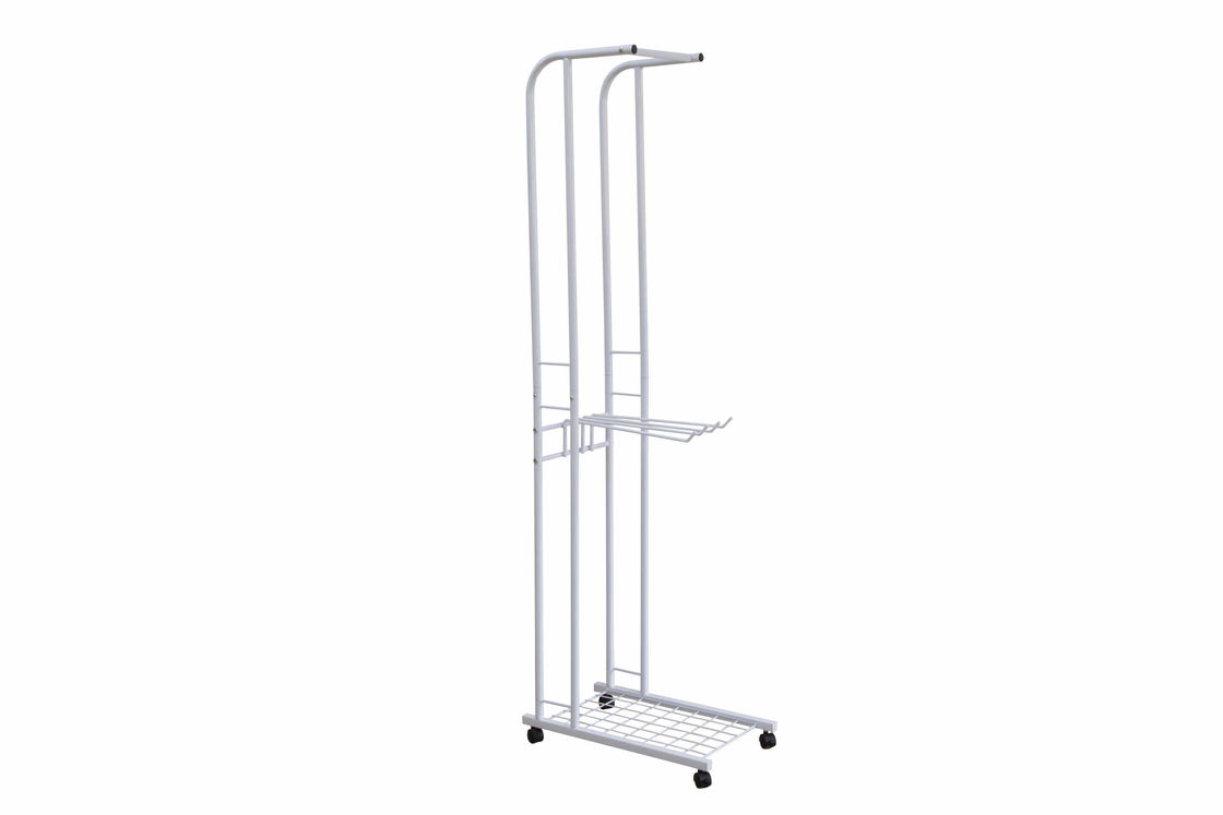 Movable Metal Coat Hanger Stand 4 Turnable Hanging Pole Bottom Storage Shoes Rack