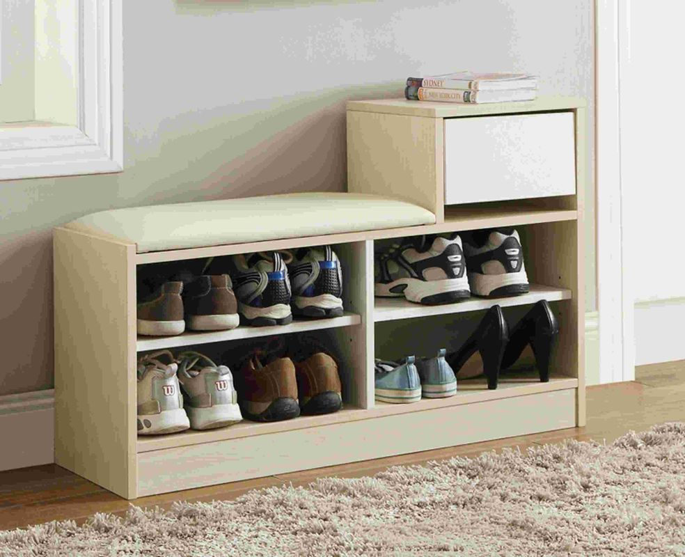 White Modern Narrow Home Shoe Cabinet Cushion Bench With PB Board Frame