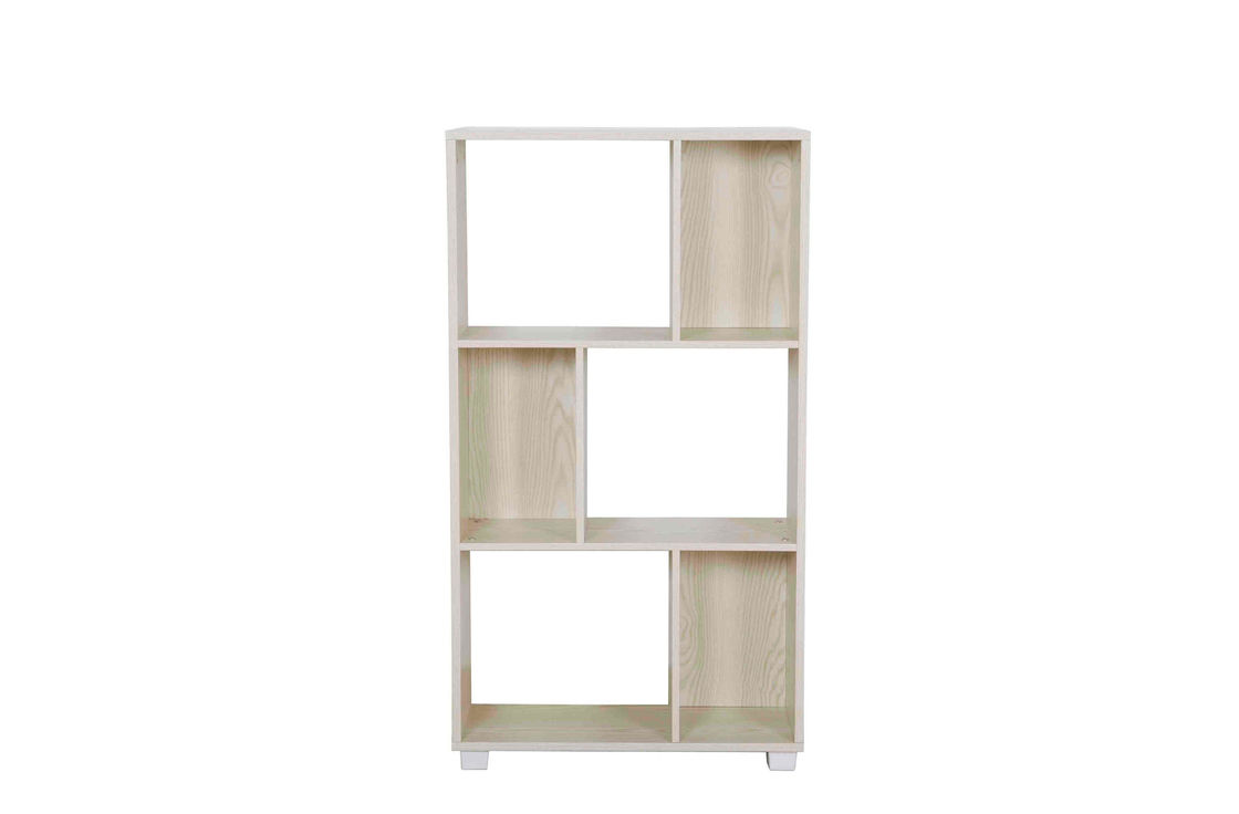 Practical Slim Wooden Book Shelf Three Tier White Oak For Bedroom / Living Room