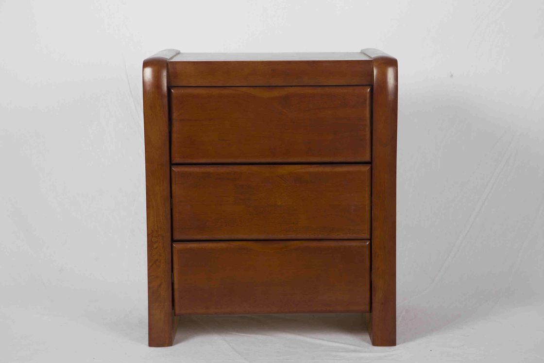 Modern Small Bedside Table Solid Wood , 3 Drawer Bedside Table 19.7 KG Rubber Wood