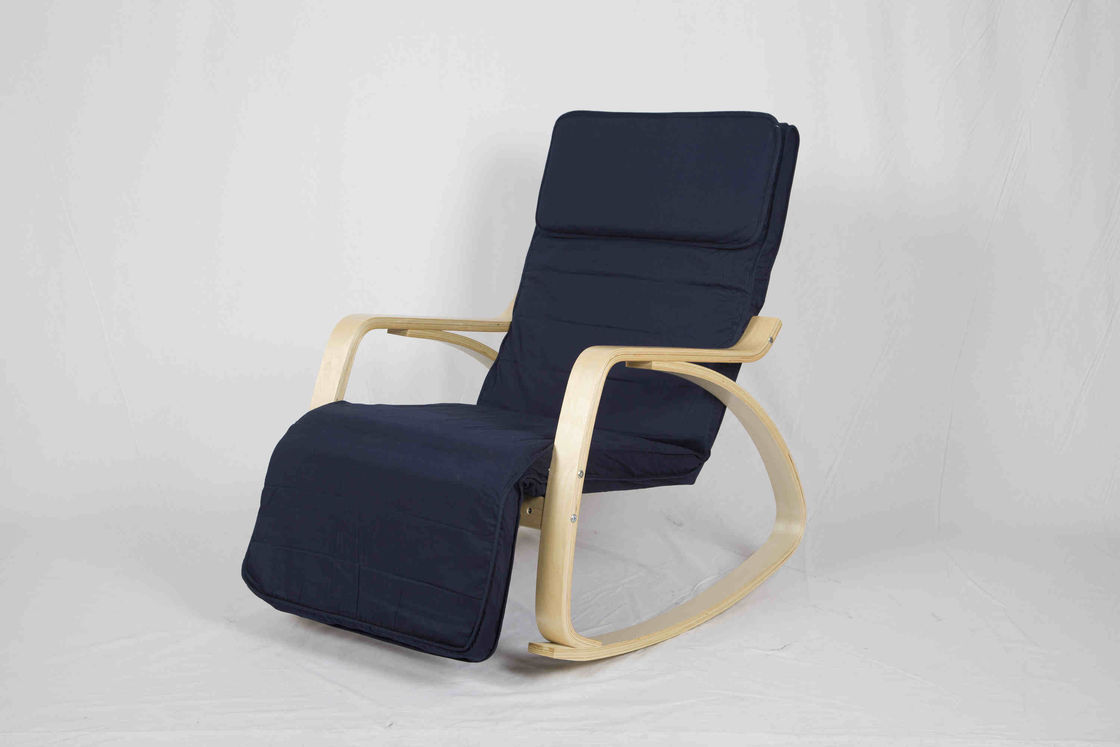 Blue Canvas Wooden Outdoor Furniture Nursery Rocking Chair With Adjustable  Footrest