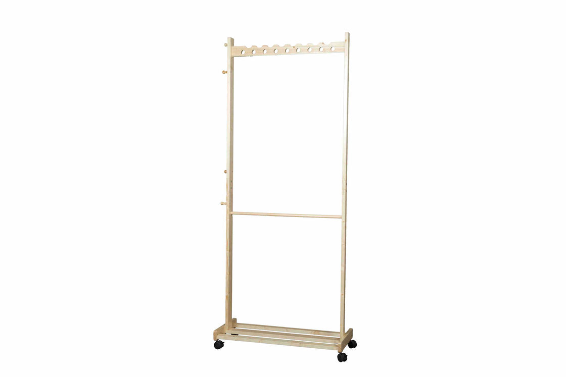 Bedroom Movable Rolling Coat Hanger Stand Rack With 4 Caster Wheels Soild Wood
