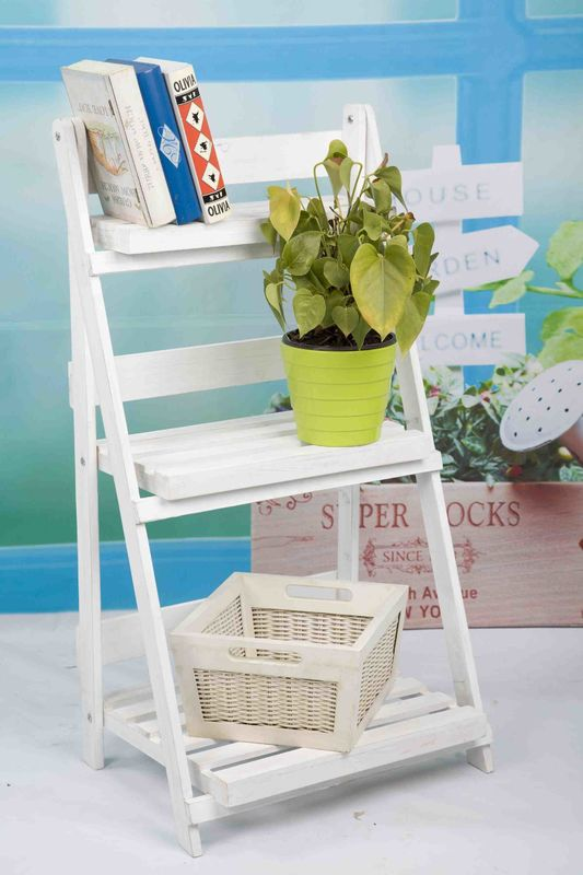 3 Tiers Wooden Outdoor Furniture Flower Pot Stand Foldable 2.9KG For Roomy Storage