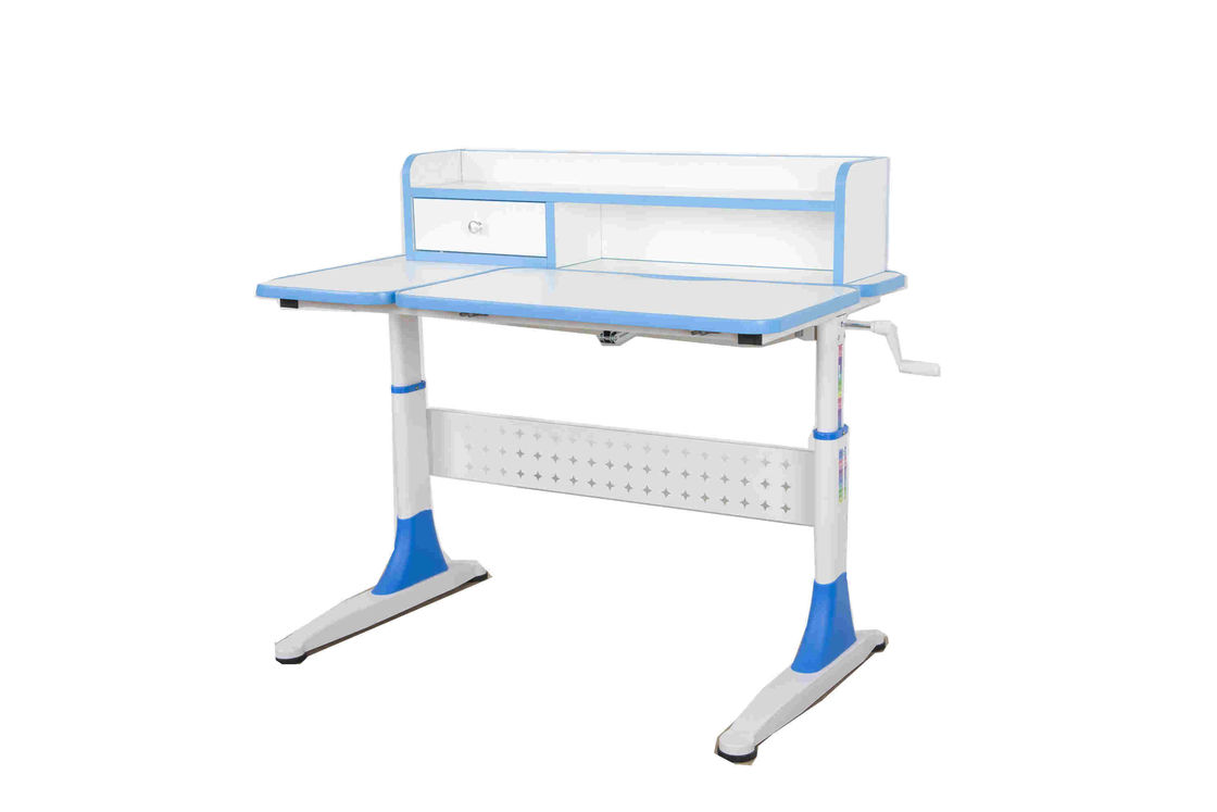 Adjustable Height Kids Study Desk 2 Tier Shelves , Childrens Homework Desk With Drawing Board