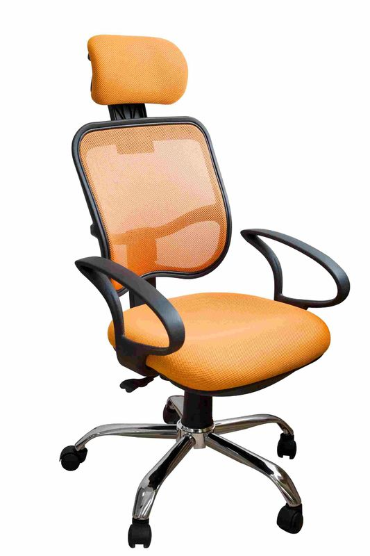 China Orange Fabric Home Office Computer Chair Ergonomic Back Comfortable For Whole Day Work Supplier