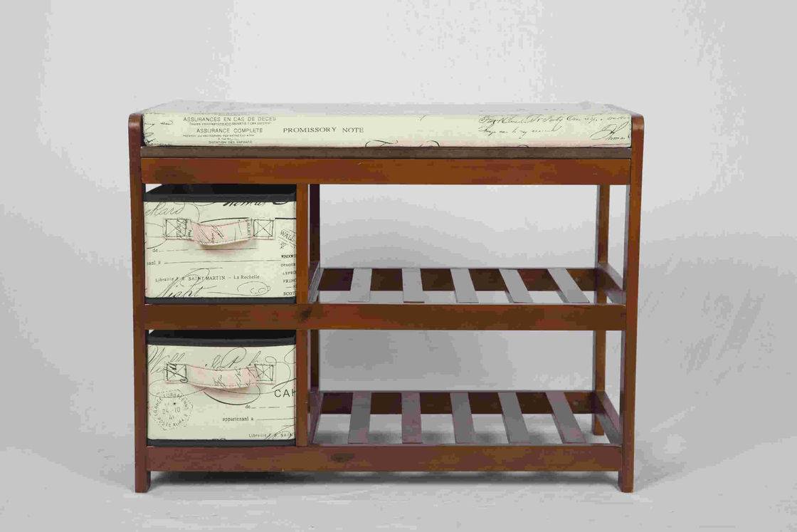 Walnut Classical Modern Wood Furniture Shoe Storage Bench Seat With 2  Fabric Drawers