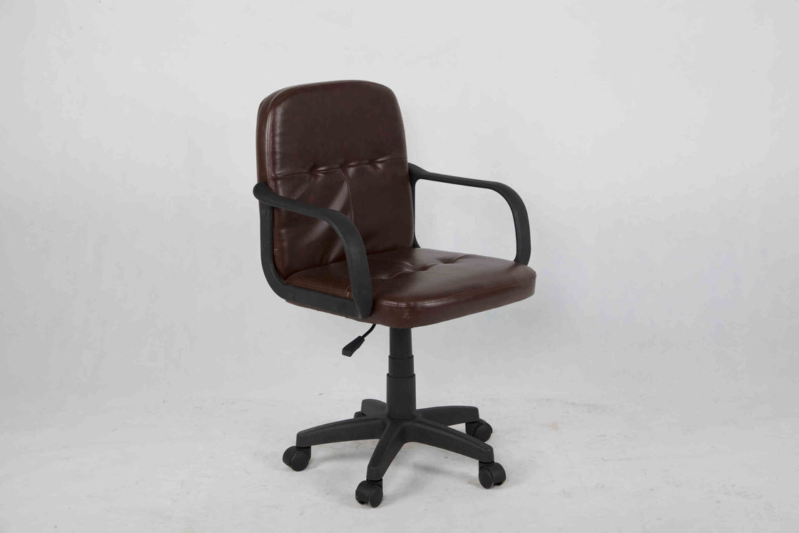 Dark Brown Leather Office Chair , Middle Back Executive Computer Chair With Nylon Armrest