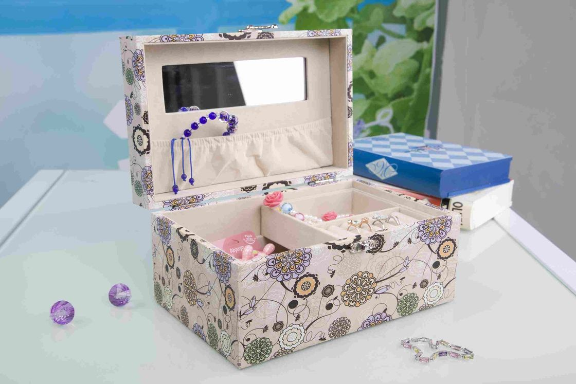 Pink Fabric Jewelry Box L25*W16*H13CM , Watch Storage Box With Lock And Mirror
