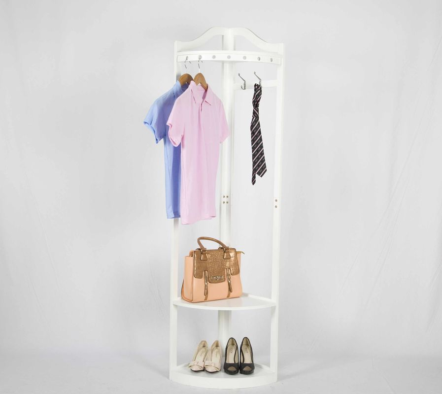 Corner  Wooden Coat Hanger Rack With 2 Storage Shelves For Shoes And Bags