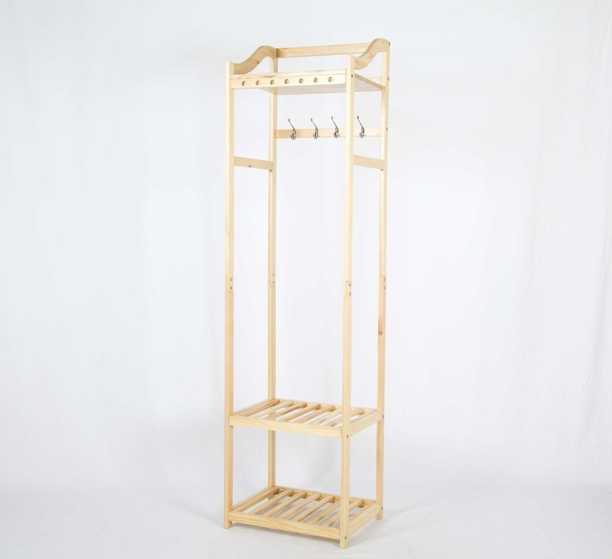 W50*D38*H180CM Wooden Garment Hanger Rack With 2 Storage Shelves