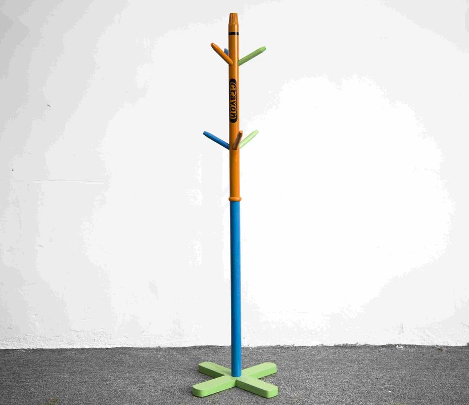 Soild Wood Crayon Shape Kids Playroom Furniture Coat Rack Stand Toddler Sized