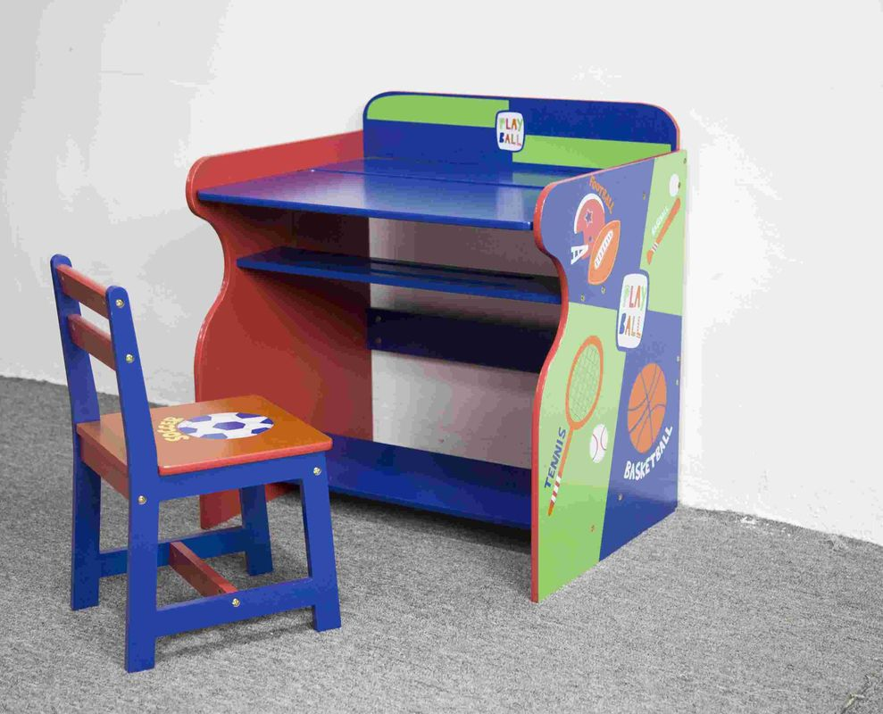 Toddler Wooden Sports Themed Study Desk Chair Set