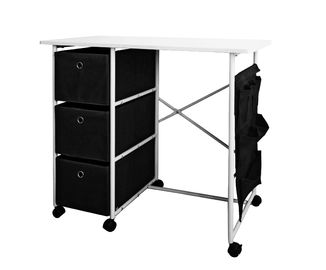 Practical Movable Home Office Computer Desk With 3 Fabric Drawers / Hanging  Pocket