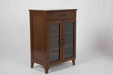 Medium Office Storage Cabinets Two Adjustable Shelves , Brown Storage Cabinet With Drawers