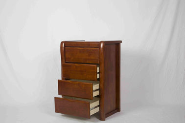 Handcrafted Home Wood Furniture 4 Drawer Nightstand With Walnut Brown Stain