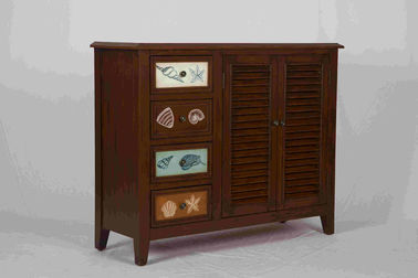 3 Adjustable Shelves Home Wood Furniture Cabinet With 4 Pattern Storage Drawers