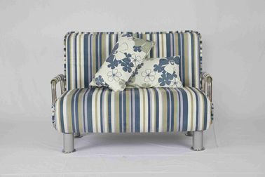 30KG Modern Home Sofa Bed Rounded Edges With Chrome Legs Armrest Blue And White