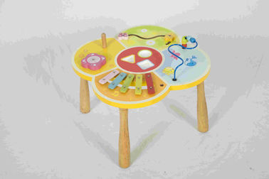 Multi Function Toddler Wooden Toys Educational Activity Table For IQ Challenge Games