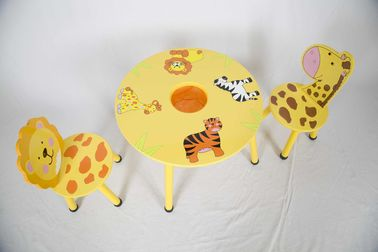 Toddler Wooden Animal Themed Table And Chair Set With Hidden Pocket For Storage